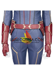 Captain Marvel Sapphire Blue PU Leather Cosplay Costume - Cosrea Cosplay