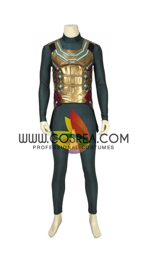 Cosrea Marvel Universe Mysterio Metallic Gold Spiderman Far From Home PU Leather Cosplay Costume