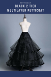 Black 2 Tier Multilayer Tulle Petticoat - Cosrea Cosplay