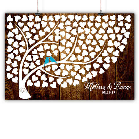 Wedding Heart Tree Guest Book Alternative - Dark Wood