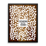 Wedding Tree Guest Book Alternative Poster, Print, Framed or Canvas - LOVE Vine - 200 Signatures Rust Wood Background wedding guest book alternative - INKtropolis