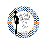 Mother To Be Silhouette Pink Chevron Wide Border Personalized Sticker Birthday Stickers - INKtropolis