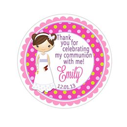 Communion Girl Green Pink Polka Dot Pattern Wide Border Personalized Sticker Birthday Stickers - INKtropolis