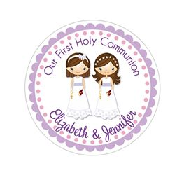 Twin Communion Girls Sisters Personalized Communion Favor Sticker