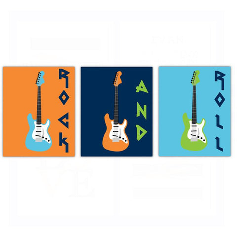 Rock N Roll Guitar Nursery Wall Art Decor Dream Big Little One Poster, Print, Framed or Canvas - Set of 3