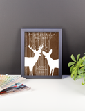 Couples Gift, Boyfriend, Girlfriend, Engagement, Wedding, Deer, Poster, Print Framed or Canvas wedding art - INKtropolis