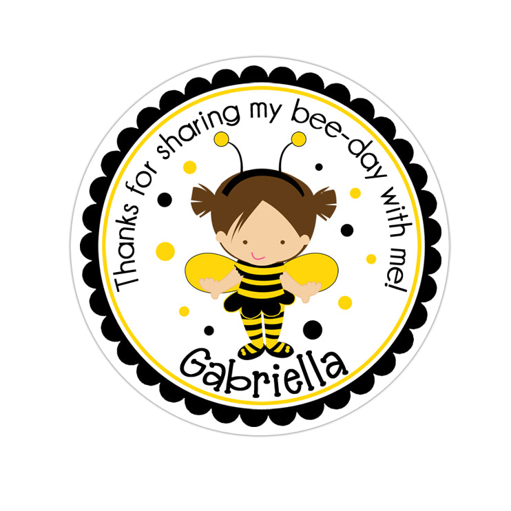 Brunette Girl Bumble Bee Costume Personalized Sticker Birthday Stickers - INKtropolis