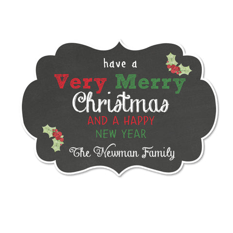 Chalkboard Merry Christmas Fancy Framed Shaped Personalized Christmas Gift Sticker