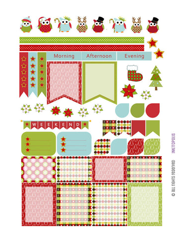 Monthly Planner Stickers Holiday Christmas Sampler 4 Planner Labels Fits Erin Condren Life Planner
