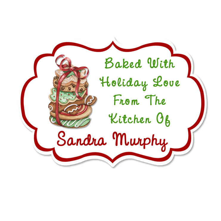 Stack Of Cookies Fancy Framed Shaped Personalized Sticker Christmas Stickers - INKtropolis