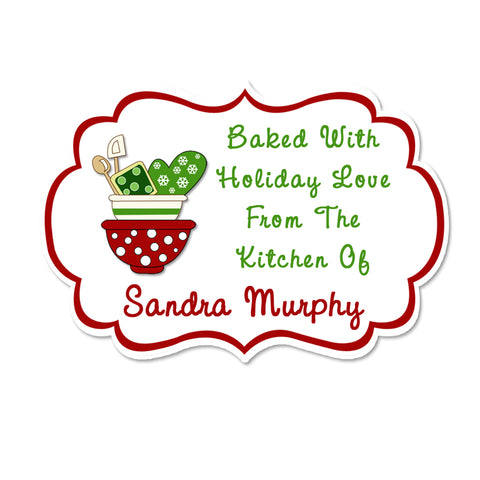 Mixing Bowls Fancy Frame Shaped Personalized Christmas Kitchen Labels