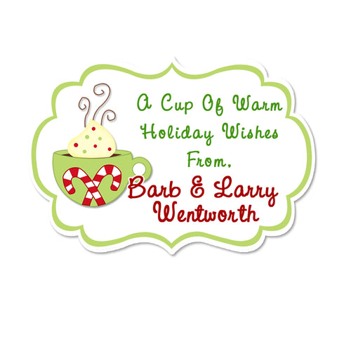 Hot Chocolate Fancy Frame Shaped Personalized Holiday Gift Sticker