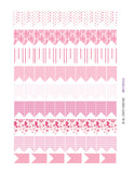Monthly Planner Stickers Chunky Medium Flags in Pink Patterns Stickers Planner Labels Compatible with Erin Condren Vertical Life Planner planner sticker - INKtropolis