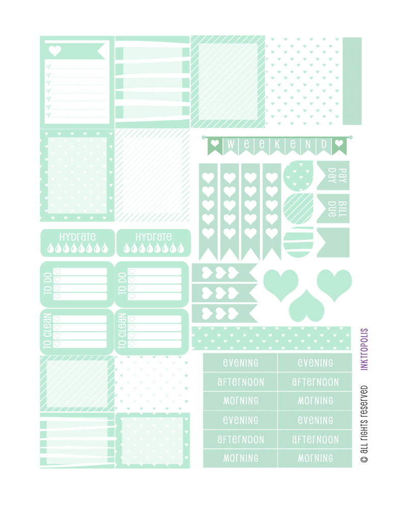 Monthly Planner Stickers Mint Heart Sampler Planner Labels Fits Erin Condren Life Planner planner sticker - INKtropolis