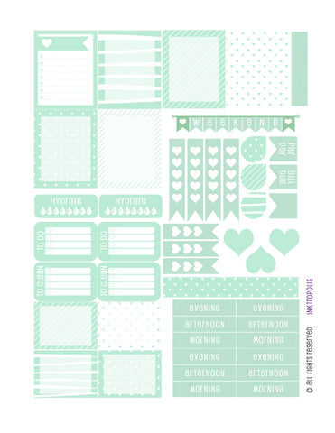 Monthly Planner Stickers Mint Heart Sampler Planner Labels Fits Erin Condren Life Planner