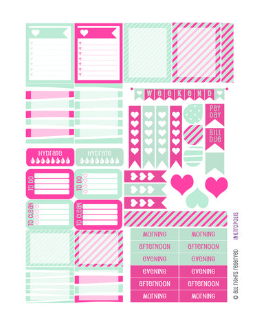 Monthly Planner Stickers Mint Hot Pink Heart Sampler Planner Labels Fits Erin Condren Life Planner