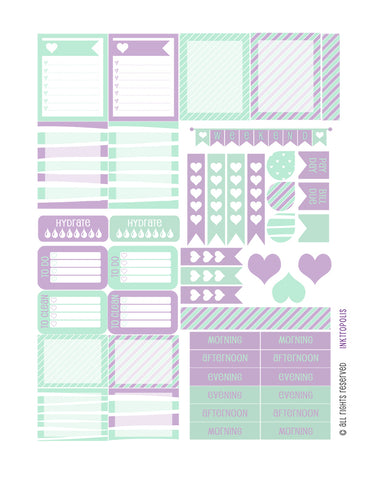 Monthly Planner Stickers Mint Lilac Heart Sampler Planner Labels Fits Erin Condren Life Planner
