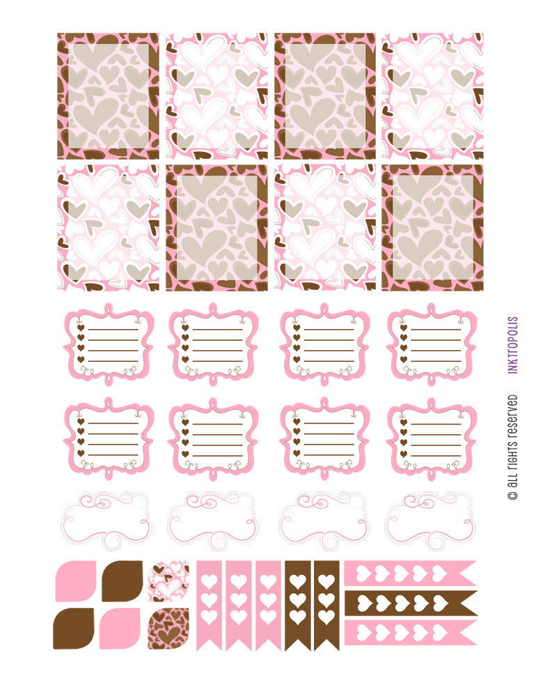 Monthly Planner Stickers Pink and Chocolate Fancy Sampler Stickers Planner Labels Compatible with Erin Condren Vertical Life Planner planner sticker - INKtropolis