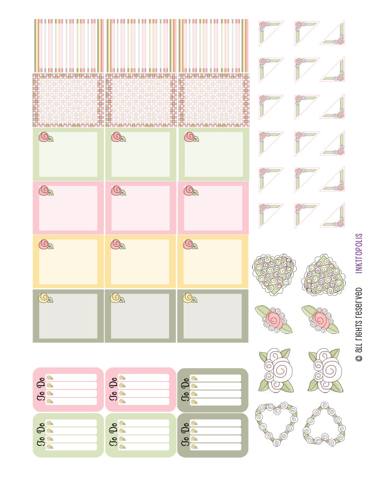 Monthly Planner Stickers Cottage Chic Vintage Roses Half Boxes Plus Planner Labels Fits Erin Condren Life Planner planner sticker - INKtropolis