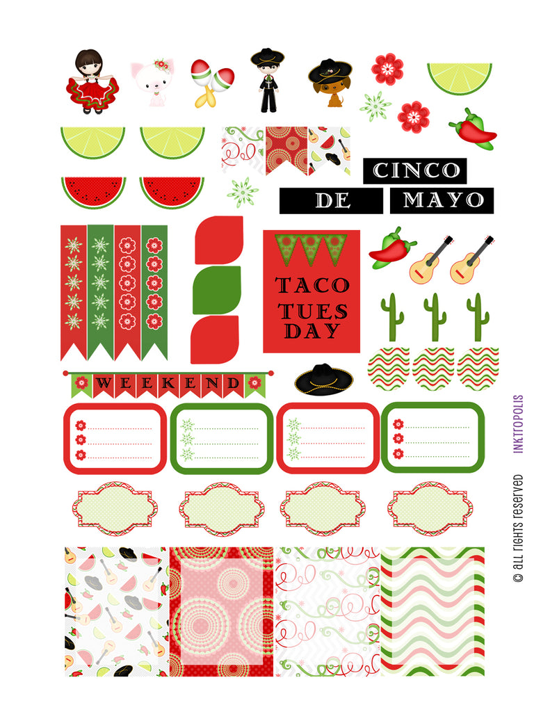 Monthly Planner Stickers Spanish Fiesta Sampler 3 Labels Compatible with Erin Condren Vertical Life Planner planner sticker - INKtropolis