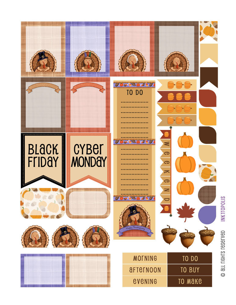 Autumn Fall Harvest Thanksgiving Sampler 2 Weekly Planner Stickers Labels Compatible with Erin Condren Vertical Life Planner planner sticker - INKtropolis