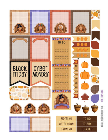 Autumn Fall Harvest Thanksgiving Sampler 2 Weekly Planner Stickers Labels Compatible with Erin Condren Vertical Life Planner