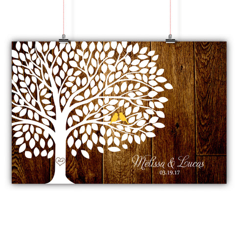 Wedding Tree - 200 Leaves Signatures - Rustic Wood Background