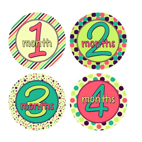Stripes, Stars, Polka Dots Monthly Baby Stickers
