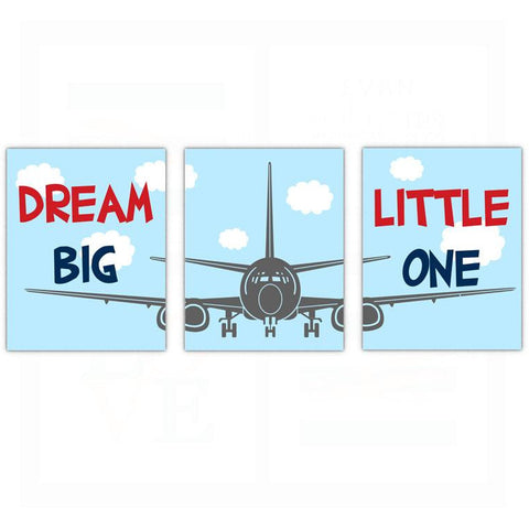 Airplane Nursery Wall Art Decor Dream Big Little One Poster, Print, Framed or Canvas - Set of 3