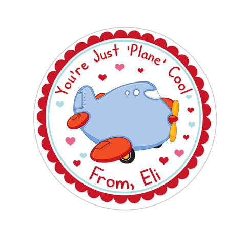 Airplane Jumbo Jet Valentines Day Personalized Sticker