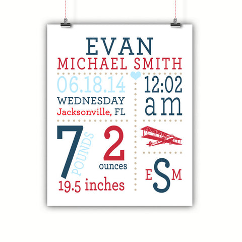 Airplane Baby Birth Stats Wall Art, Nursery Decor, Kids Room, Poster, Print, Framed or Canvas