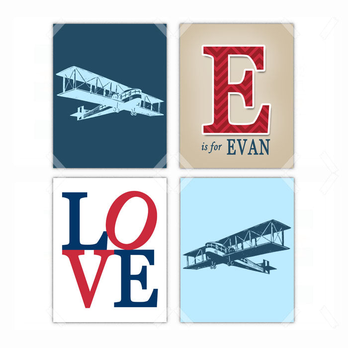 Airplane Love Nursery Wall Art Decor Poster, Print, Framed or Canvas - Set of 4 kids room art - INKtropolis