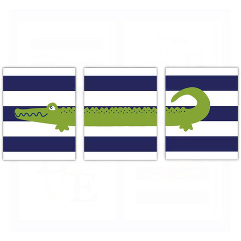 Preppy Alligator Nursery Wall Art - Dream Big Little One - Set of 3
