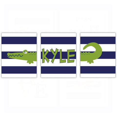 Preppy Alligator Name Nursery Wall Art - Set of 3