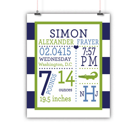 Preppy Alligator Baby Birth Stats Wall Art, Nursery Decor, Kids Room, Poster, Print, Framed or Canvas