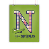 Preppy Alligator Name Poster, Print, Framed or Canvas kids room art - INKtropolis