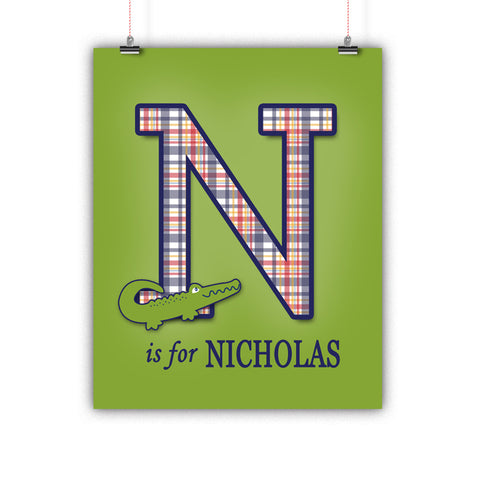 Preppy Alligator Name Nursery Wall Art