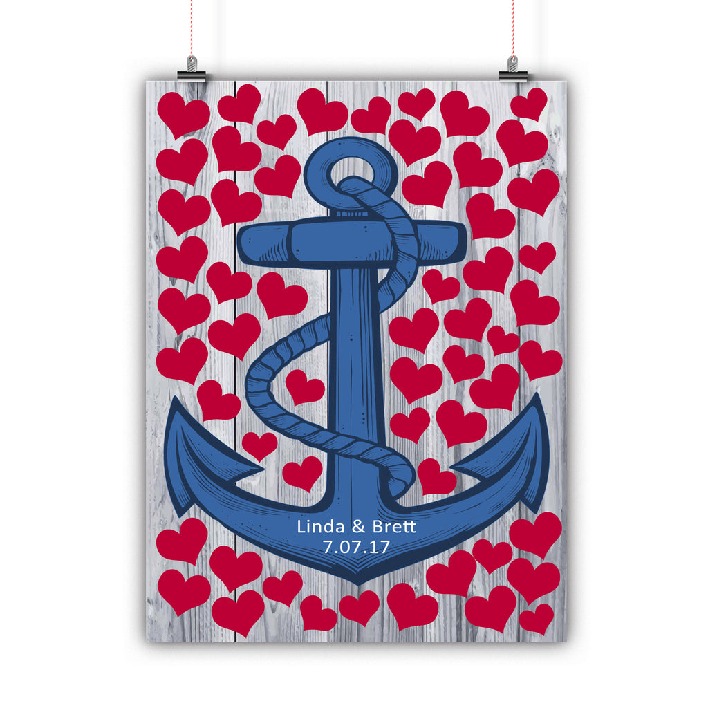 Wedding Tree Guest Book Alternative Poster, Print, Framed or Canvas - Nautical Anchor Hearts - 50 Signatures wedding guest book alternative - INKtropolis