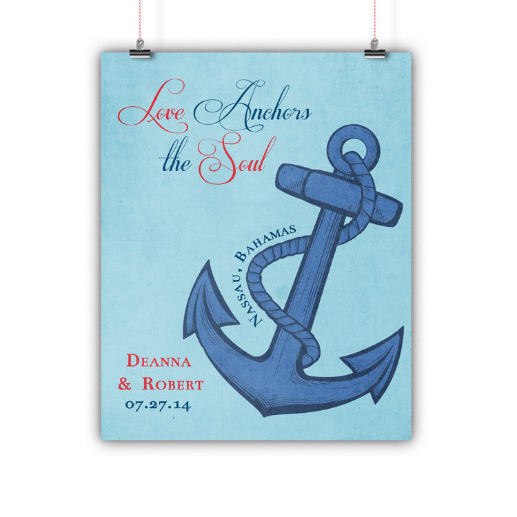 Couples Gift, Boyfriend, Girlfriend, Engagement, Wedding, Love Anchors the Soul Print, Framed or Canvas wedding art - INKtropolis
