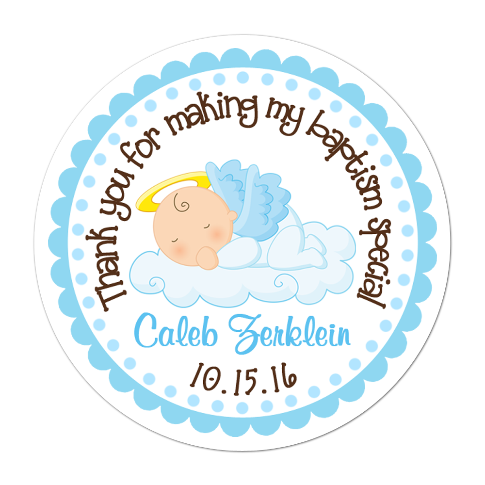 Angel Baby Boy Personalized Sticker Birthday Stickers - INKtropolis