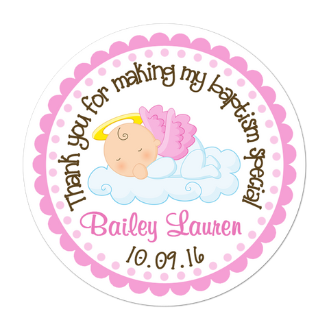 Angel Baby Girl Personalized Sticker