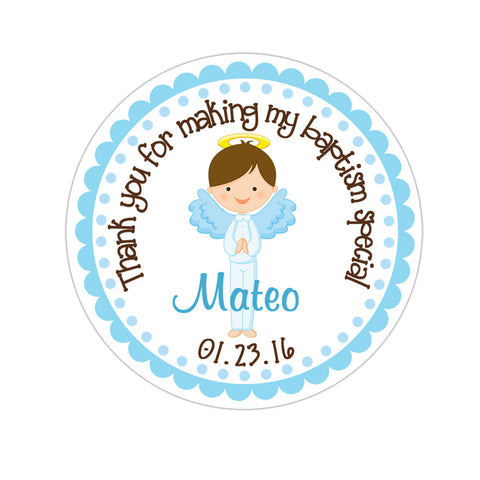 Brunette Haired Angel Boy Personalized Baptism Sticker