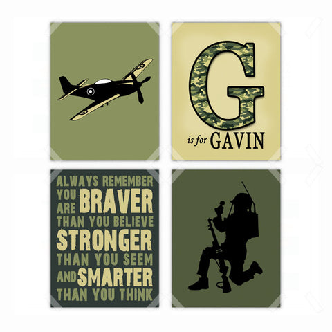Military Army Camouflage Nursery Wall Art Decor Poster, Print, Framed or Canvas - Set of 4