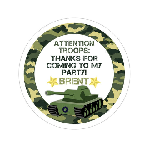 Army Tank Personalized Birthday Favor Sticker