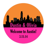 Austin Texas Skyline Personalized Sticker Wedding Stickers - INKtropolis