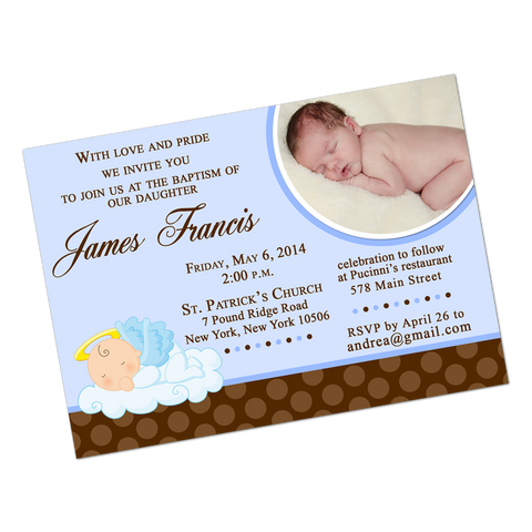 Blue Angel Baby Digital Invitation
