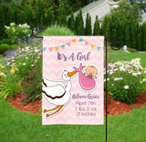 Personalized Baby Shower Party Flag - Baby Announcement - Girl Stork