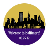 Baltimore Maryland Skyline Personalized Sticker Wedding Stickers - INKtropolis