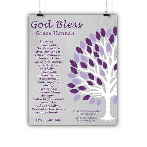 Baptism Gift, Christening, Communion, Gift for Niece, Poster, Print, Framed or Canvas