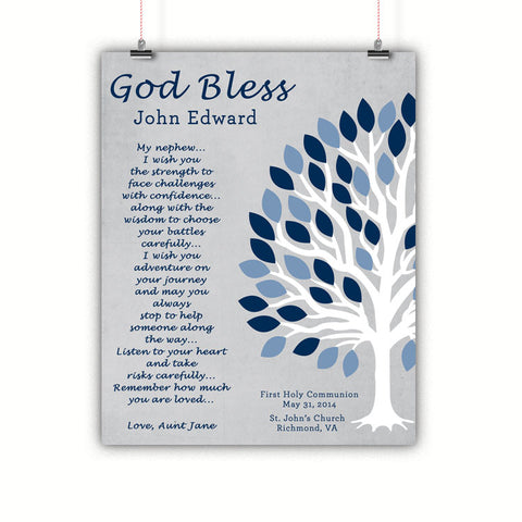Baptism Gift, Christening, Communion, Gift for Nephew, Poster, Print, Framed or Canvas …